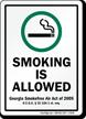 Smoking Allowed Smokefree Air Act 2005 Sign