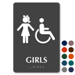 Girls And ISA Symbol Restroom Braille Sign