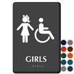 Girls And ISA Symbol Restroom Braille Sign