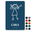 Girls Stick Figure TactileTouch Braille Restroom Sign