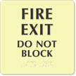 Fire Exit Glow In The Dark Braille Sign