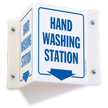 Hand Washing Station with Down Arrow Projecting Sign