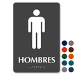 Hombres Spanish Tactile Touch Braille Restroom Sign