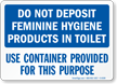 Feminine Hygiene Products Toilet Sign