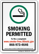 Smoking Permitted To File A Complaint Sign
