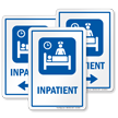 Inpatient Sign with Patient on Bed, Nurse Symbol