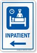Inpatient Symbol Sign With Left Arrow