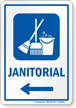 Janitorial Left Arrow Hospital Sign