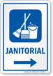 Janitorial Right Arrow Hospital Sign
