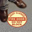 Fire Door Do Not Block Glowing Floor Sign