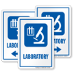 Laboratory Sign with Medical Research Microscope Room Symbol
