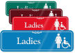 Ladies Female And Handicap Pictogram ShowCase Wall Sign