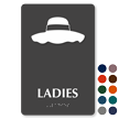 Ladies Floppy Hat Braille Restroom Sign