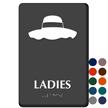 Ladies Floppy Hat Braille Restroom Sign