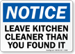 Leave Kitchen Cleaner OSHA Notice Sign