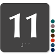Tactile Touch Braille Door Sign With Number 11