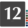 Tactile Touch Braille Door Sign With Number 12
