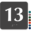Tactile Touch Braille Door Sign With Number 13