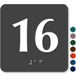 Tactile Touch Braille Door Sign With Number 16