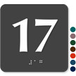Tactile Touch Braille Door Sign With Number 17