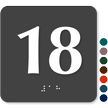Tactile Touch Braille Door Sign With Number 18