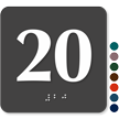 Tactile Touch Braille Door Sign With Number 20