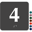 Tactile Touch Braille Door Sign With Number 4
