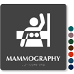 Mammography Braille Hospital Sign with Breast Imaging Symbol