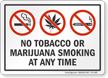 No Tobacco Or Marijuana Smoking Sign