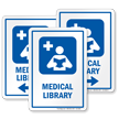 Medical Library Sign with Reading Medicine Books Symbol
