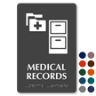 Medical Records Braille Sign with File Cabinet Symbol