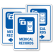 Medical Records Hospital Sign with File Cabinet Symbol