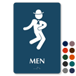 Men Braille Restroom Sign with Dancing Man Graphic