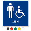 Men And Handicap Pictogram Braille Restroom Sign