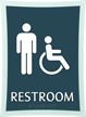 Deco Bathroom Sign with Men and Handicapped Symbols