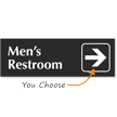 Mens Restroom Engraved Arrow Sign