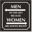 Men Left Because Women Always Right Restroom Sign