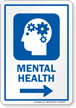 Mental Health Psychologist Sign With Right Arrow