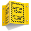 Meter Room No Storage Projecting Sign
