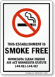 This Establishment Is Smoke Free Sign