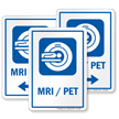 MRI/PET Sign with Magnetic Resonance Imaging Scanner Symbol