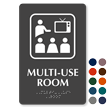 Multi Use Room Symbol ADA Sign with Braille