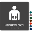 Nephrology TactileTouch Braille Hospital Sign with Kidney Symbol