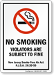 NO SMOKING VIOLATORS SUBJECT TO FINE Sign
