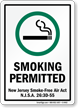 Smoking New Jersey Smoke-Free Air Act Sign