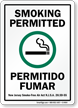 Bilingual Smoking Permitted Permitido Fumar Sign