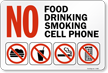 No Food, No Drinking, No Smoking, Sign
