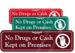 No Drugs Or Cash with Graphic ShowCase™ Sign