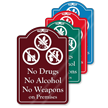 No Drugs No Alcohol On Premises ShowCase Sign