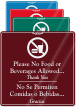 Bilingual No Food Or Beverages Allowed Sign